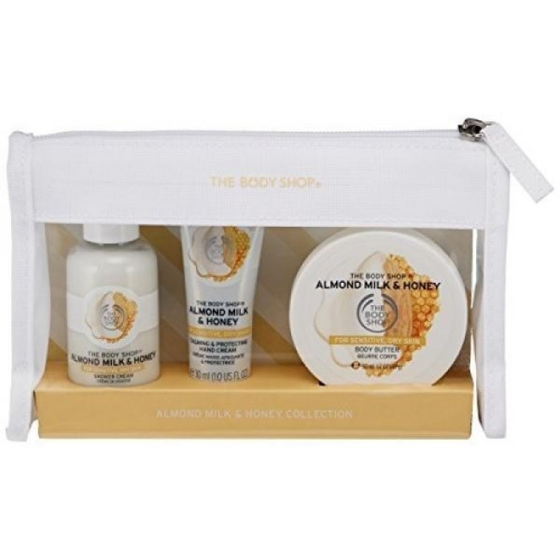 Buy The Body Shop Almond Milk and Honey Beauty Bag Gift Set, 3pc Bath and Body Gift Set, Dermatologically Tested for Dry, Sensitive Skin - intl Singapore