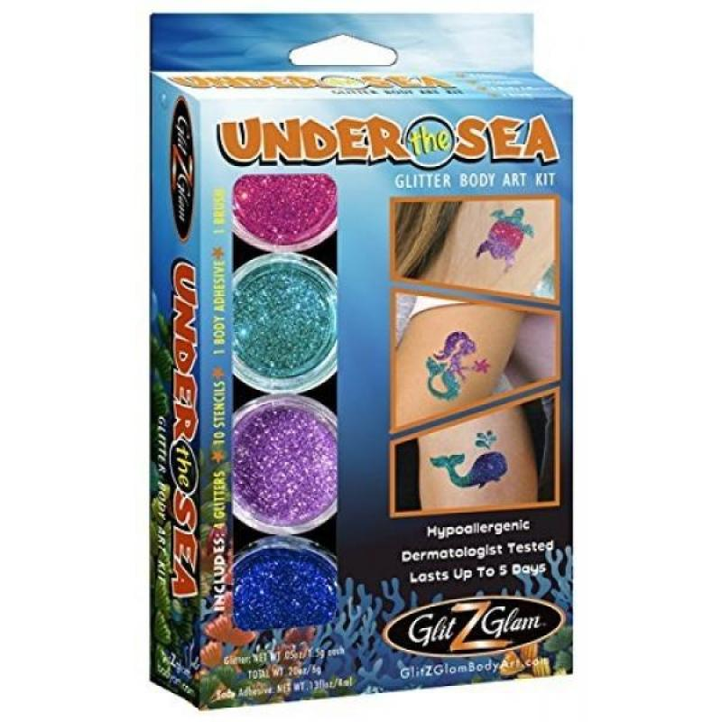Buy Under the Sea Glitter Tattoo Kit - Temporary Tattoos & Body Art - HYPOALLERGENIC and DERMATOLOGIST TESTED! Singapore