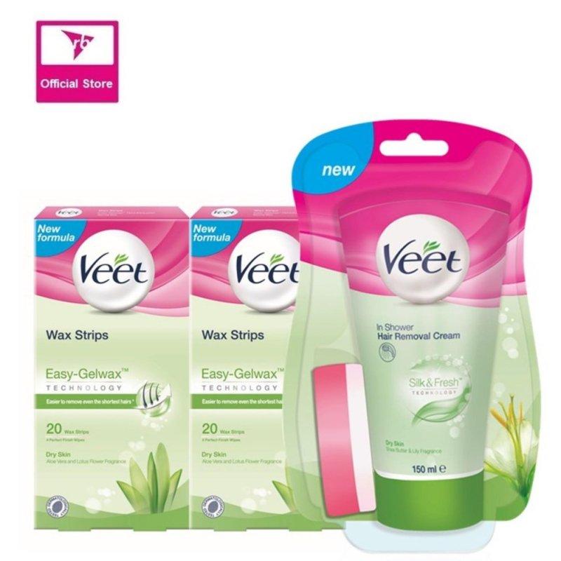 Buy Veet In-Shower Cream 150ML & 2x Wax Strip 20's For Dry Skin Singapore