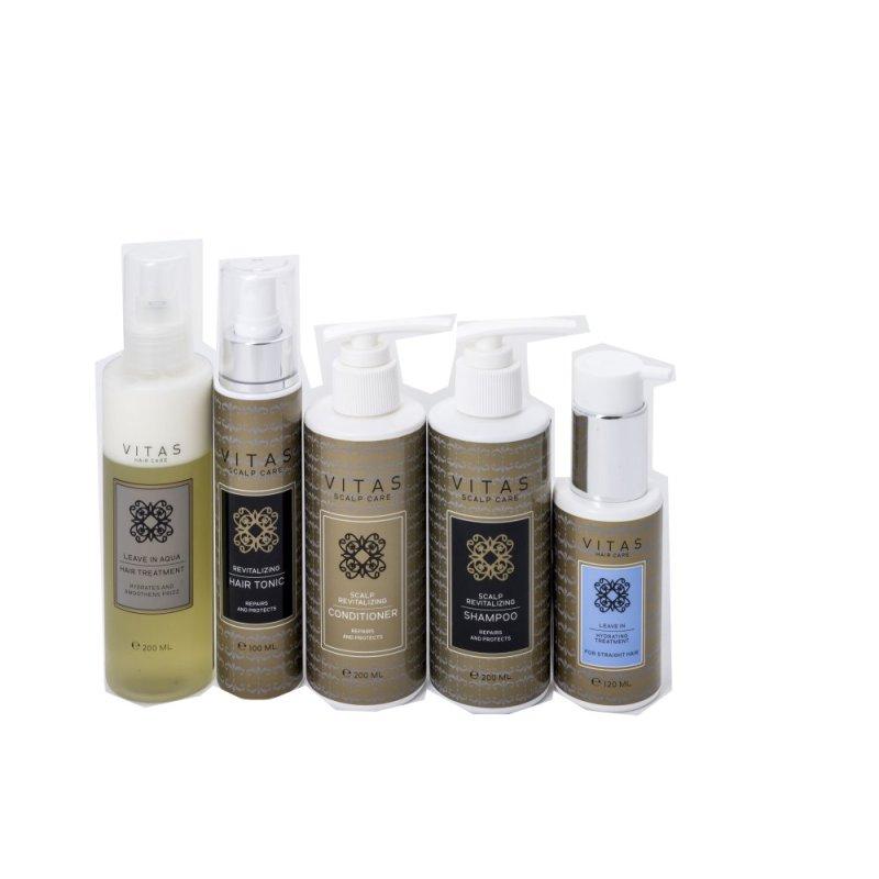 Buy Vitas Pro Scalp Revitalizing Shampoo & Conditioner - 200ml + Tonic & Leave-in Aqua & Hydrating Hair Treatment - Straight Hair Singapore