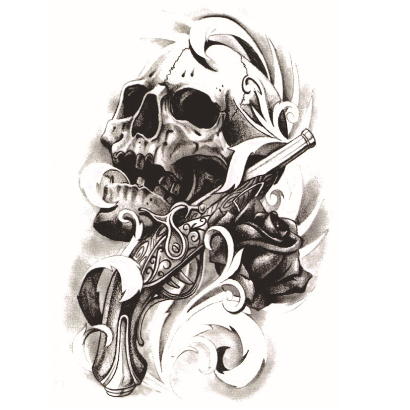Buy Yika Removable Waterproof Skull Temporary Body Arm Tattoo Stickers (A032) Singapore