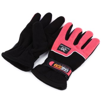 Harga 1 Pair Full Finger Warm Windproof Gloves for Outdoor Sports Mountain Climbing - ONE SIZE (FIT SIZE XS TO M) (RED)