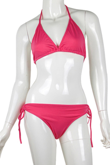 BlueLans Summer Beach Lingerie Swimwear Bikini Set (Rose Red)
