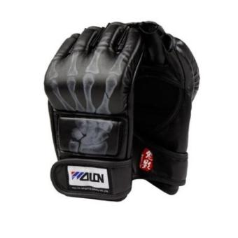 Harga Skull Fingers Half Finger Boxing Gloves Sanda Fighting Gloves MMA UFC Black