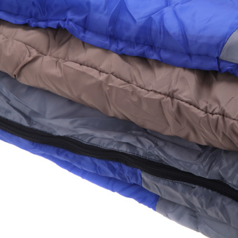 Wind Tour Thermal Adult Sleeping Bag Autumn Winter Envelope Hooded Outdoor Travel Camping Water Resistant Thick 1.3kg Blue - 4