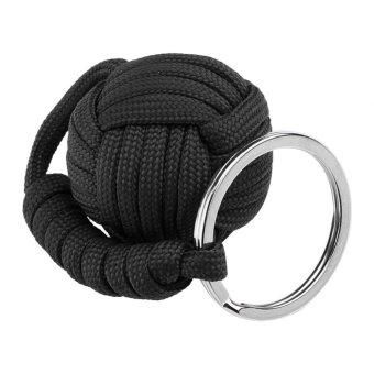 Self-defense Lanyard Keychain Key Ring Paracord Survival Tool (Black) - intl - 2