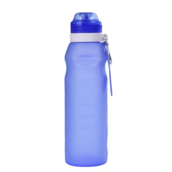 600ML Creative Collapsible Foldable Silicone Drink Sport Water Bottle(Blue) - intl