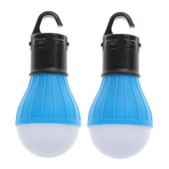 2 x Outdoor Hanging 3 Camping Tent Light Bulb Fishing Lamp(Blue) - intl