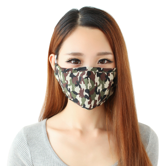 Harga 3 x Greenery Cotton and Active Carbon Filtering Mask with earloops Anti Dust Anti Virus Flu Face Mouth Mask Reusable Mask to Prevent Dust and Pollution (Camouflage) - intl