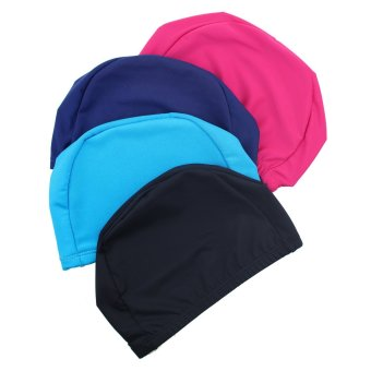 10pcs Unisex Adult Kid Swimming Hat Beach Cloth Fabric Caps Hat Solid Pattern Assorted color - 3