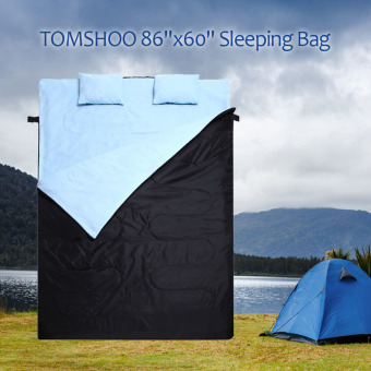 "Harga TOMSHOO 86""x60"" Double Sleeping Bag 2 Person Outdoor Camping Hiking Sleeping Bag with 2 Pillows 0?C ~ -5?C ~ -10?C - intl"