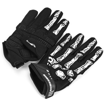 Harga 2pcs Robesbon Skeleton Skull Bone Cycling Bike Bicycle Gloves 3D Gel Pad Breathable Outdoor Full Finger - SIZE M (BLACK)