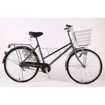 "Harga DKALN City Bike 24"" Single Speed Large Front Basket Dynamo Wheel Lock (Grey)"