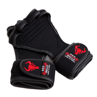Harga Red Bulls 4 weight lifting gloves Power lifting Health Weight Workout Grip (Black) (Size S)