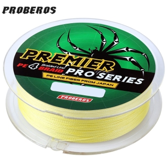 Harga PROBEROS 100M PE 4 Strands Monofilament Braided Fishing Line Accessory 30LBS(Yellow)