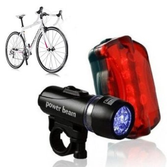 Waterproof 5 LED Bike Bicycle Head Light + Rear Safety Flashligh 800m / 2500 ft - 2