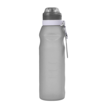 600ML Creative Collapsible Foldable Silicone Drink Sport Water Bottle(Black) - intl