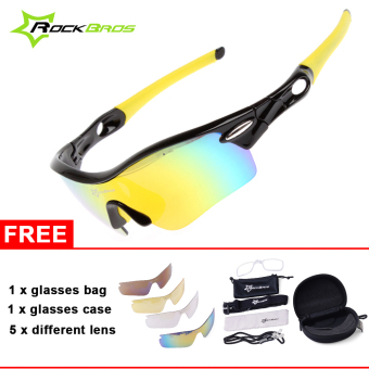 ROCKBROS Pro Polarized Cycling Glasses Bike Sports Sunglasses 5 Lens Goggles