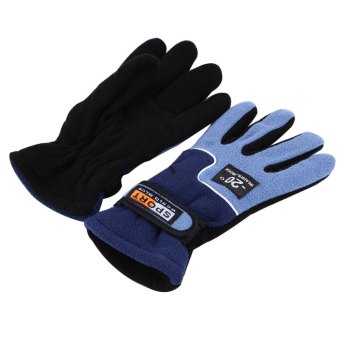 Harga 1 Pair Full Finger Warm Windproof Gloves for Outdoor Sports Mountain Climbing - ONE SIZE (FIT SIZE XS TO M) (BLUE)