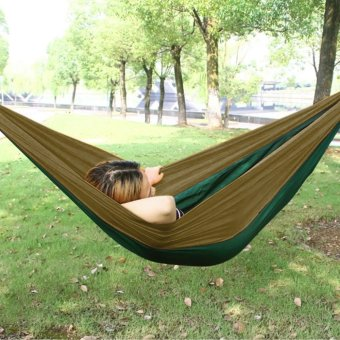 Harga Enkeeo 200 Parachute Nylon Fabric Hammock(Army Green & Brown) - intl