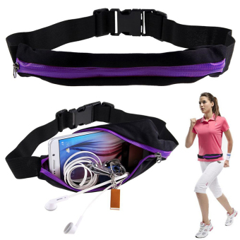 Harga Sports Hip Pack Belly Waist Bum Bags Fitness Running Jogging Cycling Belt Pouch Purple