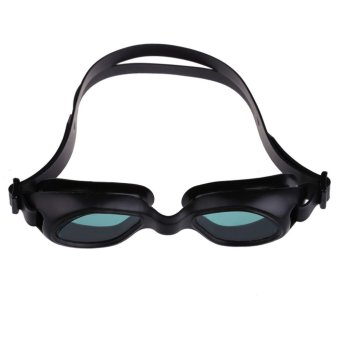 Silicon Conjoined Swimming Goggles Anti-fog PC Lens Diving Black - 2