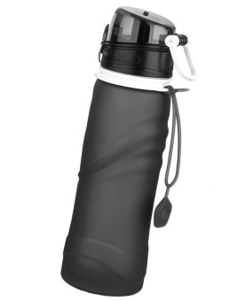 Silicone Collapsible Sports Water Bottle, 750mL ( Black)