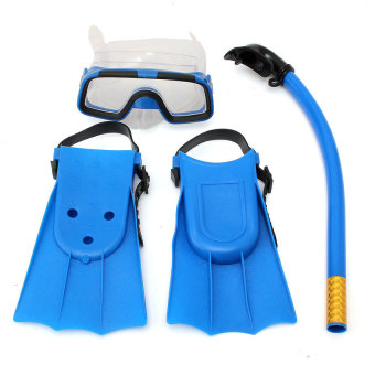 YJS Kids Diving Mask Snorkel&Amp; Glasses&Amp;Fins Set Siliconeswimming Pool Equipment Gift Blue - intl