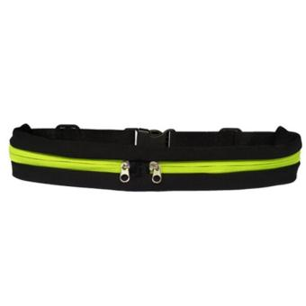 Harga Unisex Elastic Waist Pack Belt Portable Waterproof Sport Waist Bag (Black&Green) - intl