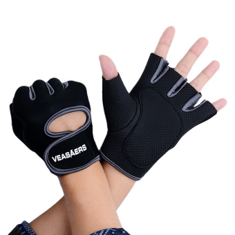 Harga GYM Sport Half Finger Training Gloves Grey