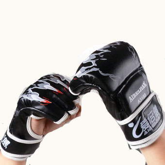 Harga PU Adult Boxing Gloves MMA Gloves Five Finger Gloves Black (20.0.4) - intl