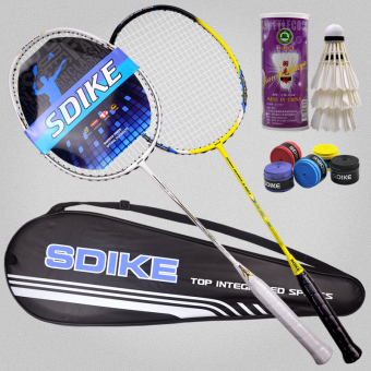 Harga full carbon badminton racket carbon fiber stick light double shot 2 installed