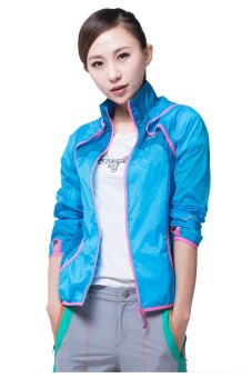 Makino Women's Outdoor Waterproof Light Weight UV-Proof Jacket Thin Windbreaker Skin Hooded Jacket 3128-2 Sky Blue/Deep Blue - 4