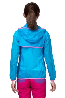 Makino Women's Outdoor Waterproof Light Weight UV-Proof Jacket Thin Windbreaker Skin Hooded Jacket 3128-2 Sky Blue/Deep Blue - 3