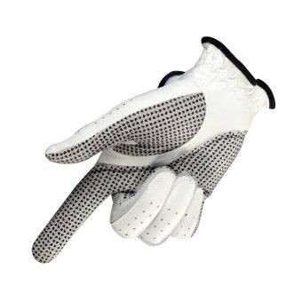 Anti-skid pure Sheepskin Golf Gloves for right hand (White+24yards) - 3