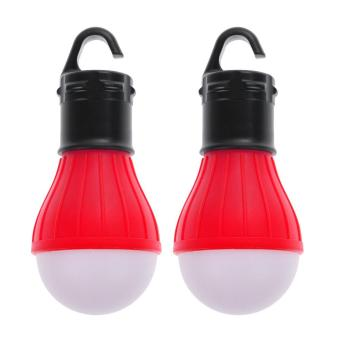 2 x Outdoor Hanging 3 Camping Tent Light Bulb Fishing Lamp (Red) - intl