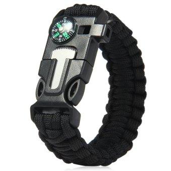 5in1 Outdoor Survival Bracelet Flint Whistle Compass Scraper (Black) - 2