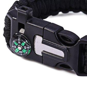 5in1 Outdoor Survival Bracelet Flint Whistle Compass Scraper (Black) - 4