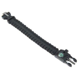 5in1 Outdoor Survival Bracelet Flint Whistle Compass Scraper (Black) - 3