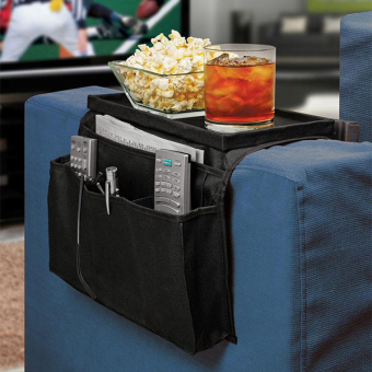 Harga 6 Pockets Sofa Chair Couch Armrest Organizer Storage Bag Pouch Remote Control Holder (Black)