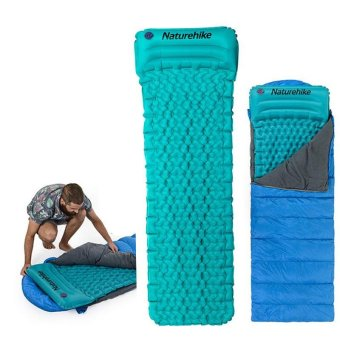 Harga Wholesale-2016 NEW Naturehike Ultralight Outdoor Sleeping Pad Inflatable With Pillow Tent Mat Moisture-proof Mattress - intl