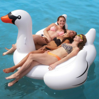 Harga 1.9M Inflatable Giant Swan Floating Rideable Swimming Pool Toy Float Raft (L) - intl