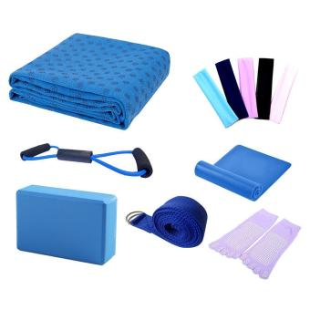 Harga leegoal Yoga Starter Kit - 7 Piece Essentials Beginners Bundle Include Yoga Towel,Yoga Blocks,Yoga Strap,Stretch Band,Yoga Sock,Yoga Head Band,Spring Cable,Blue
