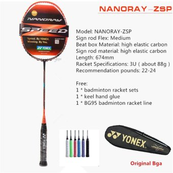 Harga YONEX NANORAY-ZSP Full Carbon Single Badminton Racket 22-24 Pounds Suitable for Amateur and Beginner(Chinese Version)