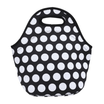 Neoprene Lunch Tote Bag Insulated Waterproof Lunch Box(Black)-B - intl