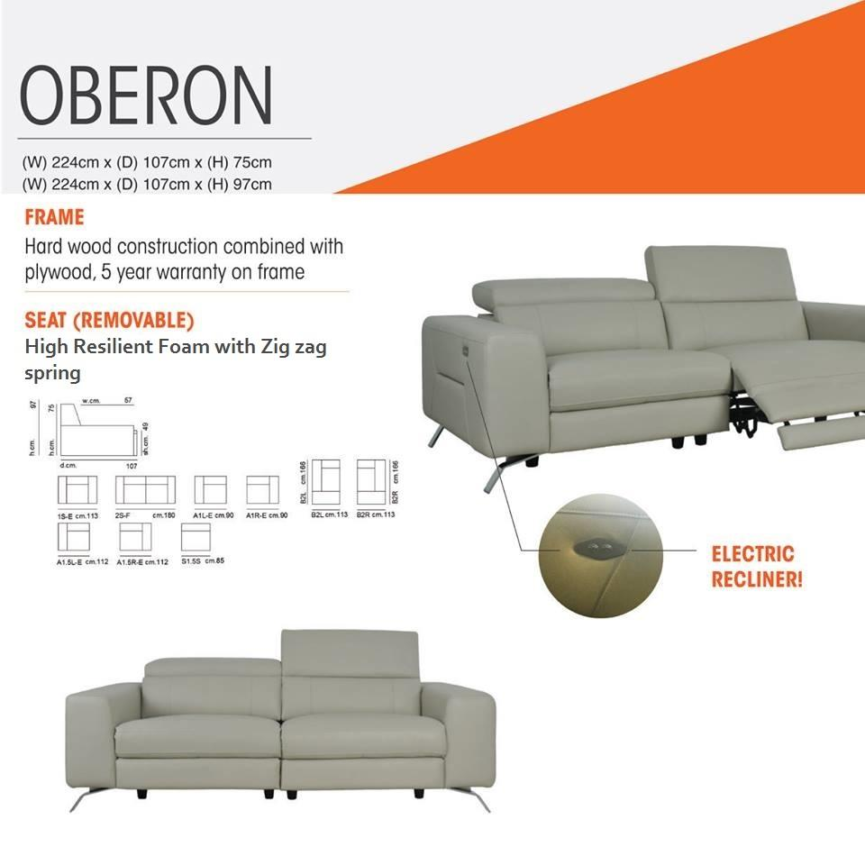 Oberon 3 Seater Electric Recliner Sofa Price Stated For Half