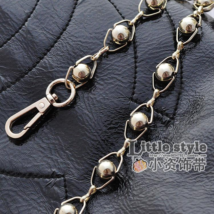 12mm light gold rhombus round beads alloy chain (Cm 80 (containing 2 buckle)) (Cm 80 (containing 2 buckle))