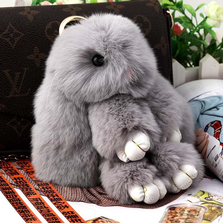 18cm cute Rabbit fashion bag small pendant (Light gray color)
