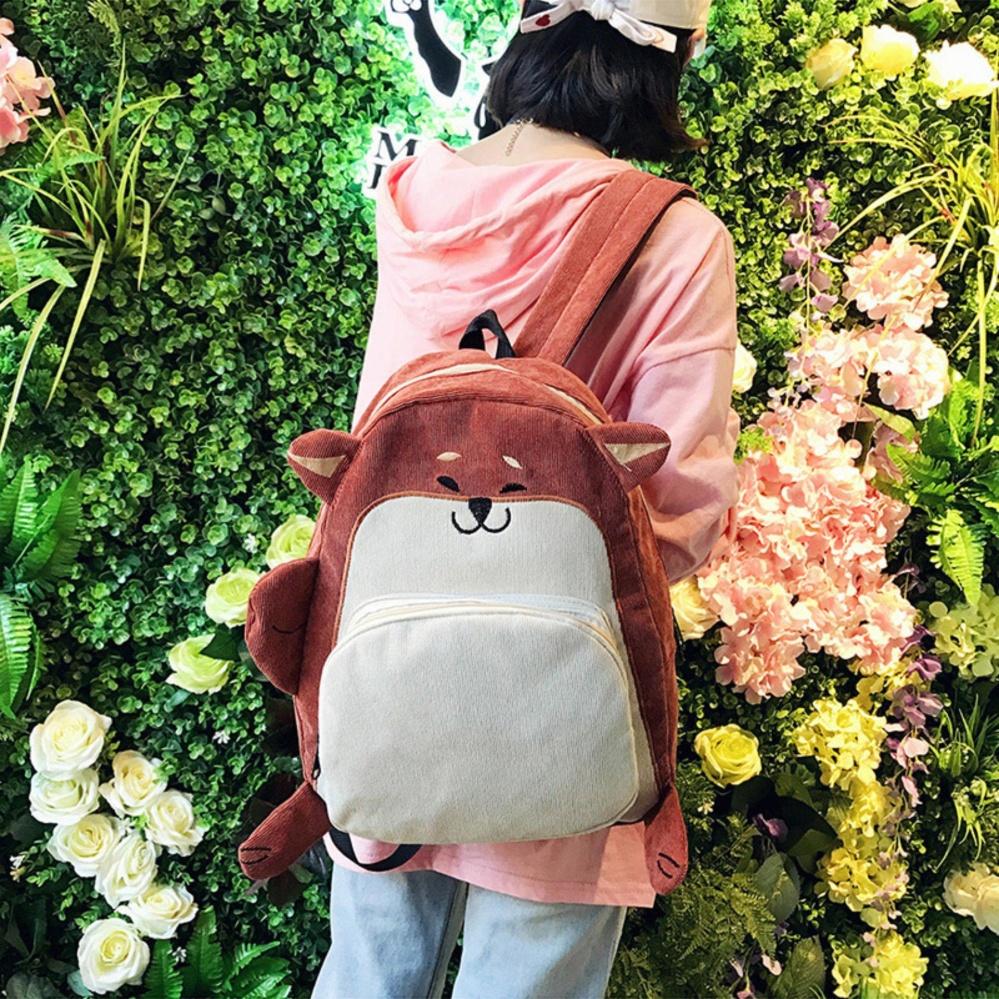 1PC Schoolbag Cute Fox Ear Embroidery Bags Corduroy Shoulder Bag Backpack - intl