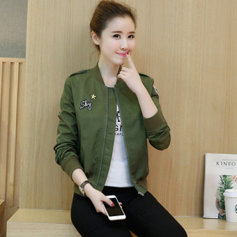 2016 Autumn Winter Long Sleeve Slim Jackets Vintage Stand Collar Celeb Bomber Coats Casual Solid Outwear(Army Green)
